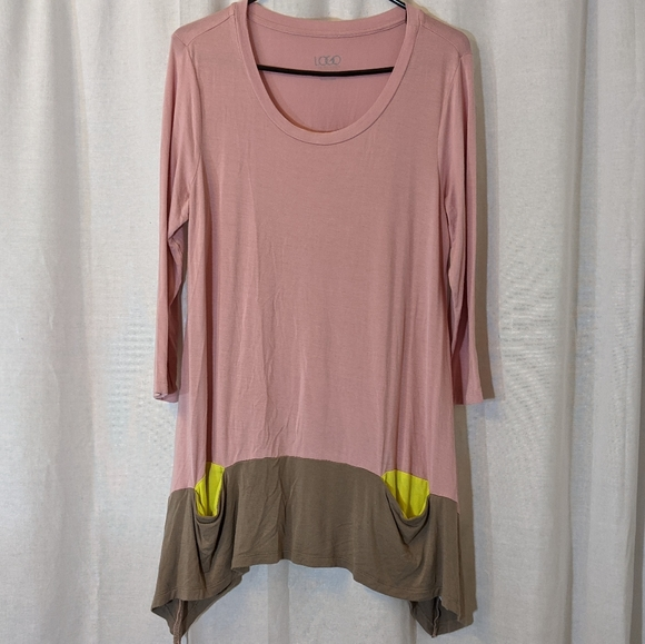 LOGO Soft Colorblock Tunic Pink Grey Yellow Sz M